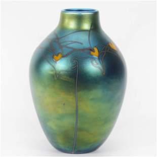 Vase, Contemporary Art Glass Signed Orient & Flume