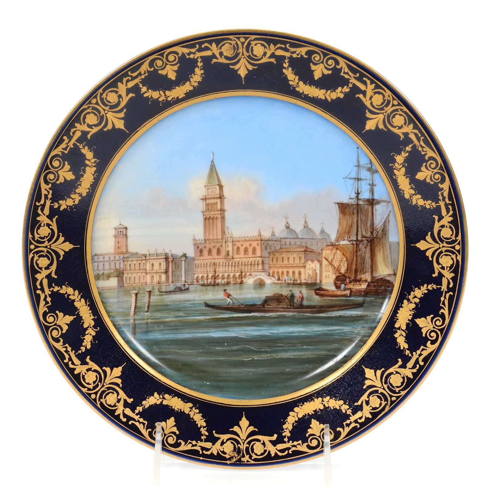 "Plate, Unmarked Sevres Porcelain Titled ""Venice"""