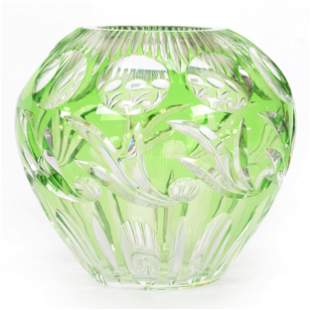 Vase, Unmarked, Green Cut To Clear Crystal