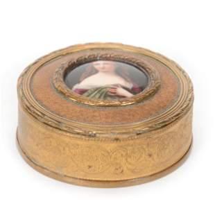 Hinged Jewel Box, Gilt Metal, Hand Painted Lid