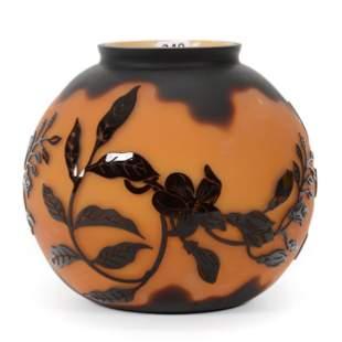 Vase, Burnt Orange With Dark Carved Amethyst Overlay