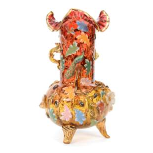 Footed Vase, Decorated Moser Amberina Art Glass