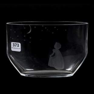 "Vase Signed ""OF"" (Orrefors) Clear Crystal, Engraved"