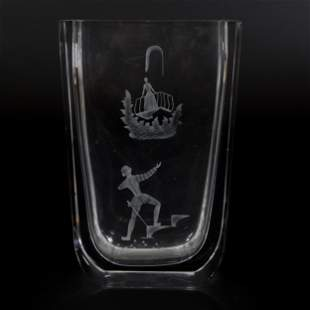 Vase Signed Orrefors Heavy Clear Crystal
