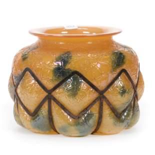 Vase, Cased Butterscotch And Green Mottled Design