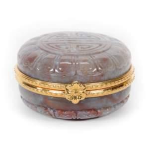 Pillbox, Modern Carved Stone, Oriental Design