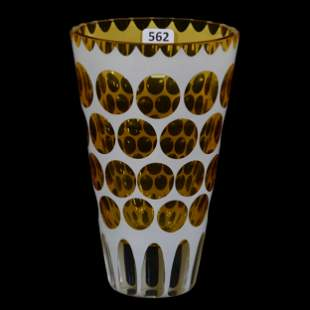 Vase, Bohemian Amber & Clear, White Overlay