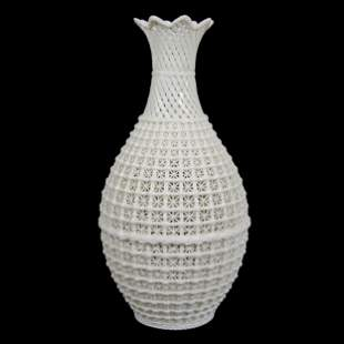 Vase, Chinese Blanc De Chine, Reticulated