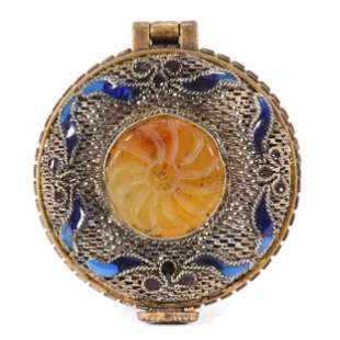 Pill Box, Silver Mesh Hinged, Carved Stone Medallion