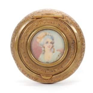 Pill Box, Gilt Metal w/ Hand Painted Portrait