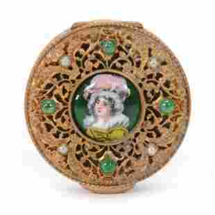 Pill Box, Gilt Metal w/ French Enamel Medallion