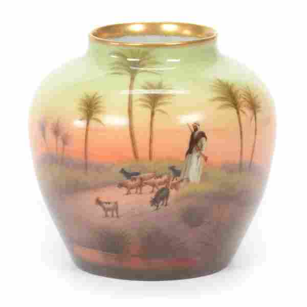 Vase, Hand Painted Fellah Ware On Limoges Blank