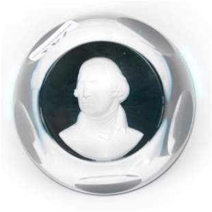 Paperweight By Sevres Crystal George Washington