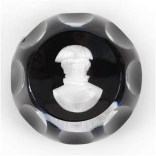 Paperweight Signed Cristalleries d'Albert Sulphide