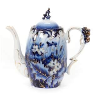 Tea Pot, R.S. Steeple Mark, Cobalt Blue And White