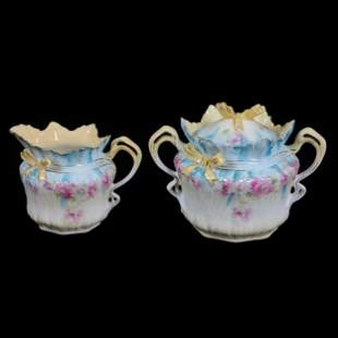 Creamer And Sugar, Unmarked Prussia, Bowtie Mold