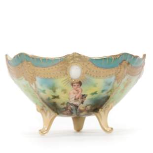Footed Bowl Marked R. S. Prussia, Melon Eater Scenic