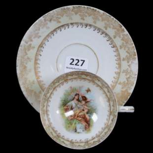Pedestal Cup And Saucer Marked R.S. Suhl