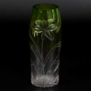 Vase, Moser Art Glass, Green Shading To Clear