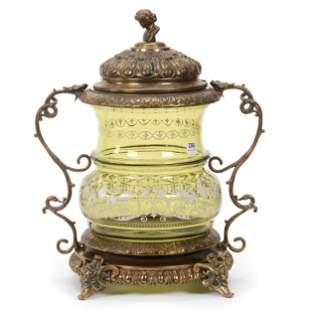 Mounted Punch Bowl, Bohemian Art Glass
