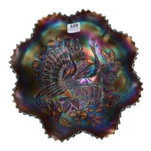 Carnival Glass Bowl, Peacocks On Fence