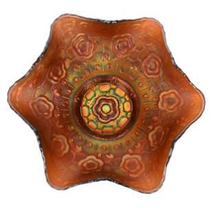 Carnival Glass Bowl, Captive Rose By Fenton