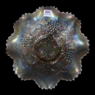 Carnival Glass Bowl, Northwood Grape And Cable