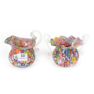 Creamer & Sugar Set, Millefiori Art Glass