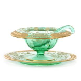 Mayonnaise Set, Decorated Green Depression Glass