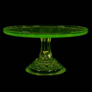 Cake Stand, Vaseline Early American Pattern Glass