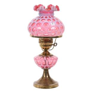 Table Lamp, Cranberry Opalescent Coinspot