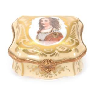 Trinket Box, Modern, Marked Sevres Porcelain