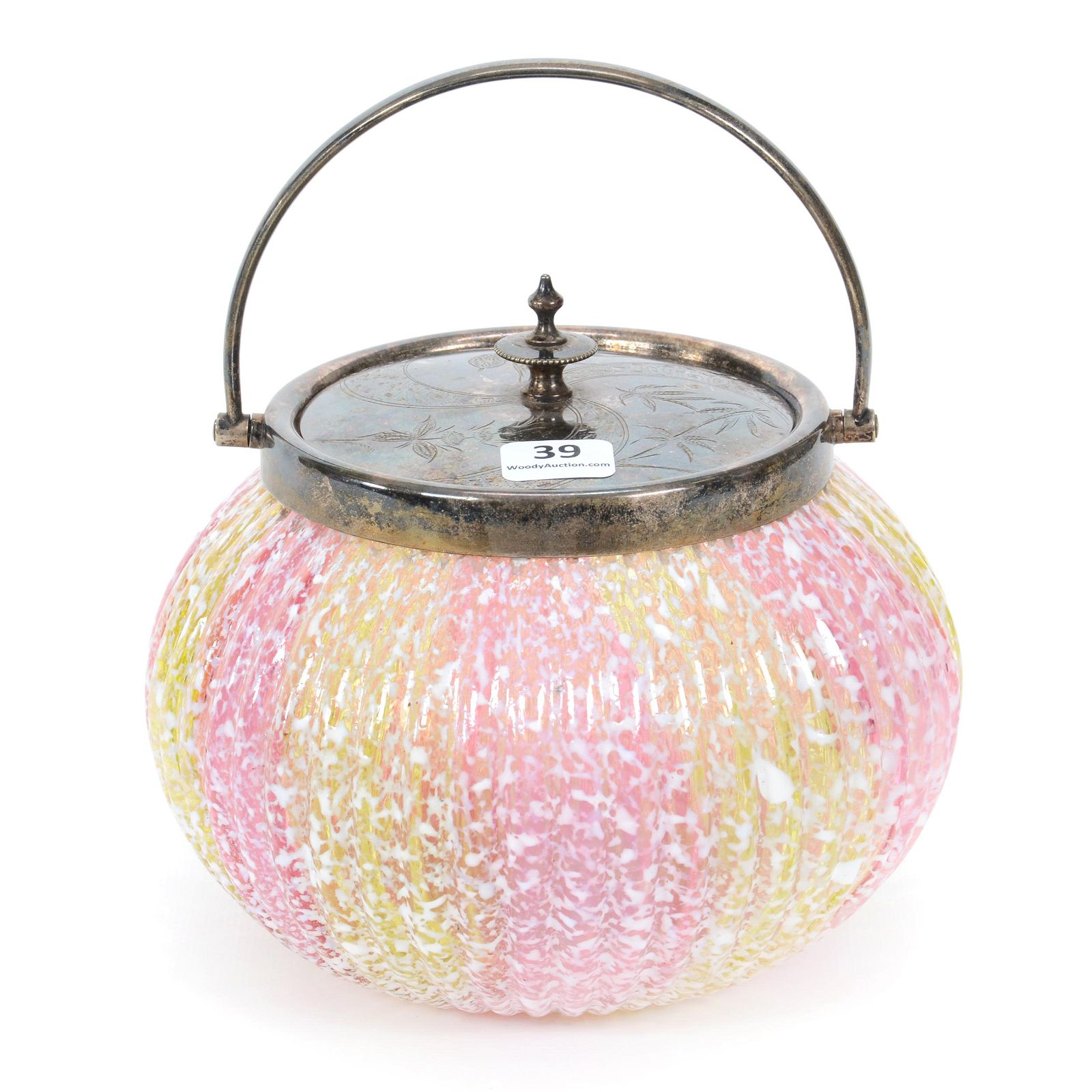 Biscuit Jar, Pink And Yellow Stripe, White Mottling
