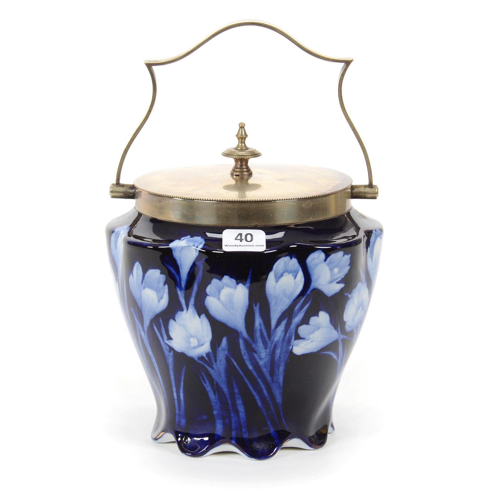 Biscuit Jar, Cobalt Blue W/White Tulip Decor