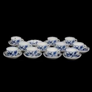 (11) Demitasse Cups W/Saucers Marked Meissen