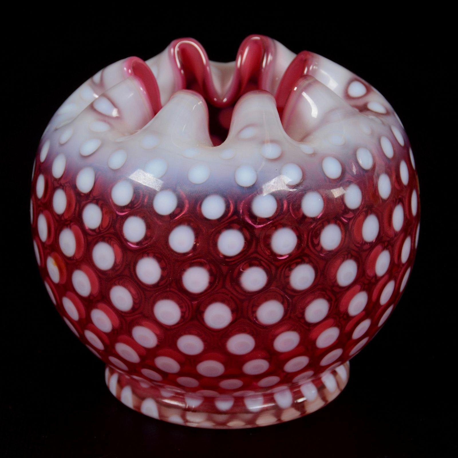 Rose Bowl, Cranberry Opalescent Polka Dot Pattern