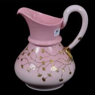 Water Pitcher, Victorian Pink Art Glass