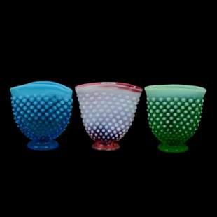 (3) Opalescent Hobnail Fan Vases