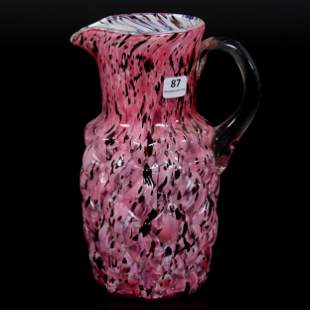 Water Pitcher, Cased Molded Art Glass