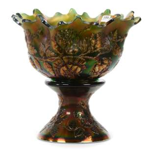 Carnival Glass Punch Bowl, Wreath Of Roses by Fenton