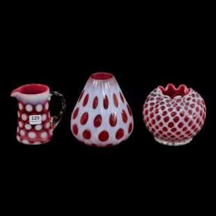 (3) Cranberry Opalescent Art Glass Items