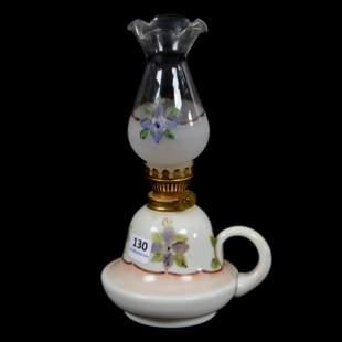 Finger Lamp, White Bristol, Painted Floral Decor