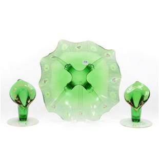 Console Set, Three Piece, Emerald Green