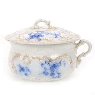 Chamber Pot, Flow Blue, Labelle Pattern By Grindley