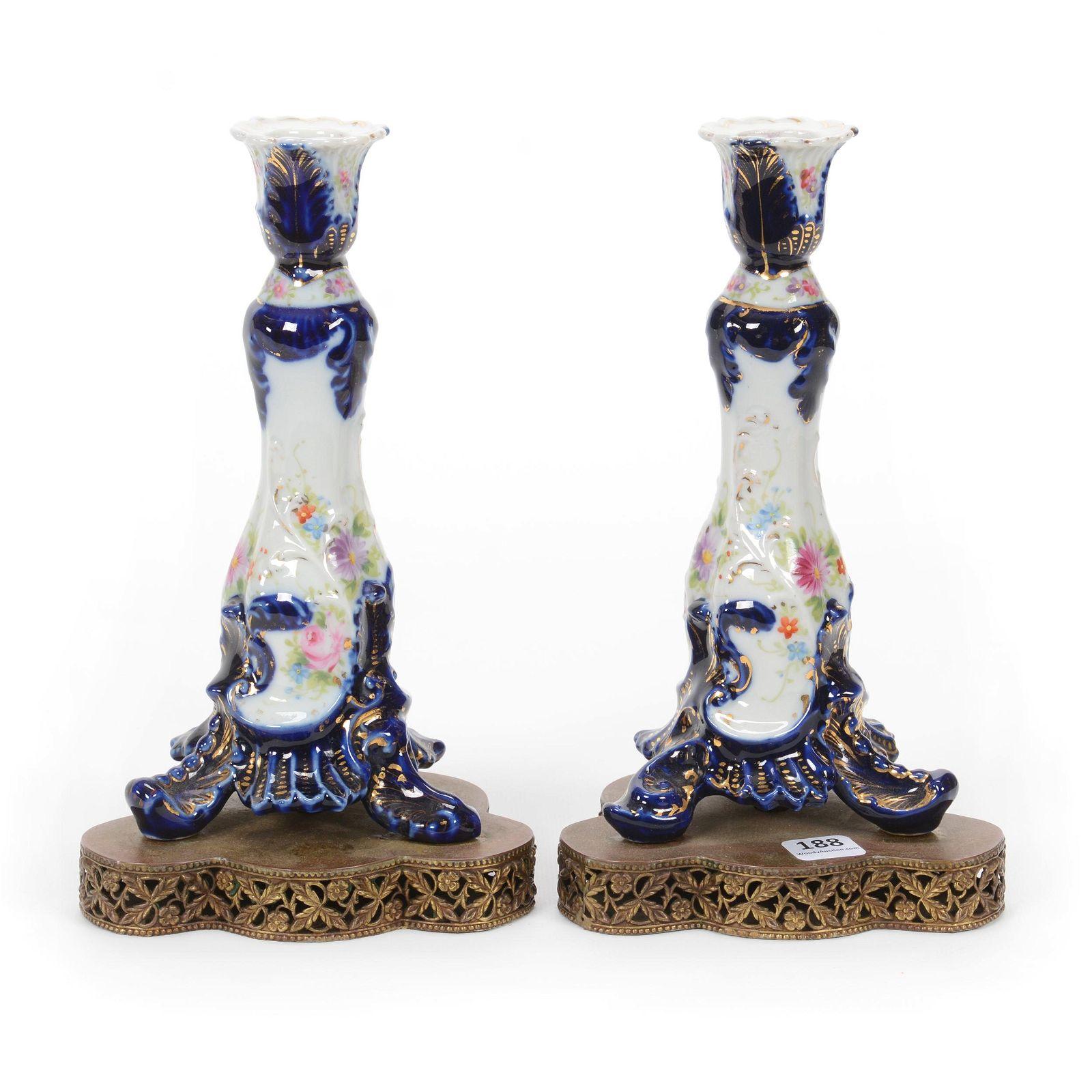 Pair Candlesticks, Cobalt & White Porcelain