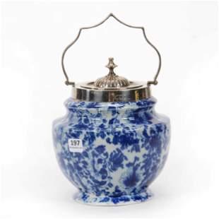 Biscuit Jar, Modern Flow Blue Ironstone