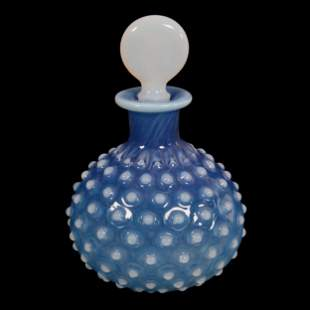 Perfume Bottle, Blue Opalescent Hobnail