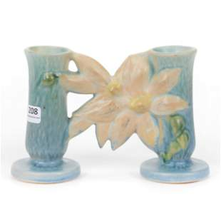 """Double Bud Vase, Roseville Pottery #194-5"""", Clematis"""