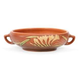 """Bowl, Roseville Art Pottery #646-6"""", Freesia Pattern"""