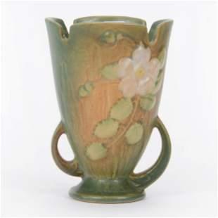 """Vase, Roseville Pottery #980-6"""", White Rose Pattern"""